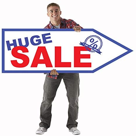 Giant Waver Sign 45 Inch Arrow for Street Waver, Sign Spinner and Business Advertising (Huge Sale)
