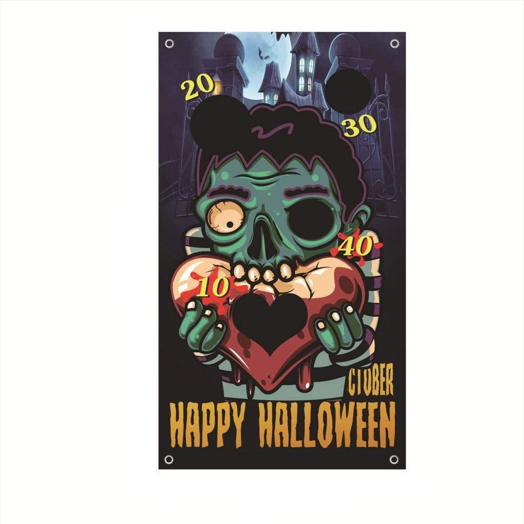 Anyren Halloween Party Games, Hanging Banner Decoration Backdrop Banner Corn Hole for Indoor Outdoor Bean Bag Toss Games Kids (C)