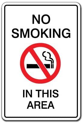 NO Smoking in This Area Warning Aluminum Sign Non Smoke Aluminum Signs fumar Cigarettes Cigar   Indoor/Outdoor   24