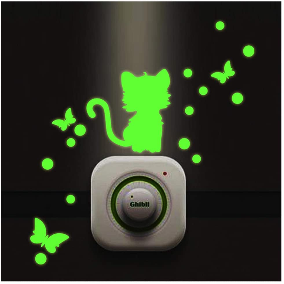 Glow in The Dark Wall Sticker, Cute Cartoon Luminous Animal Switch Nursery Wall Sticker Night Light Sticker DIY (A)