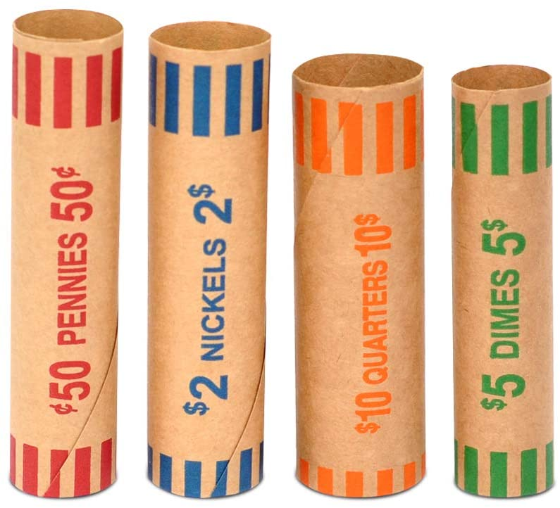 100pcs Assorted Heavy Duty Preformed Coin Wrappers Rolls - Quarters, Pennies, Nickels and Dimes (Total 100 pcs)