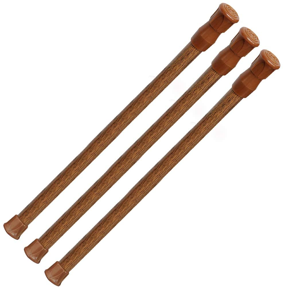 AIZESI 3pcs Tension Rod 16 to 28 Inch Wood Color Tension Curtain Rod Small Tension Rods Adjustable Spring Rod Short Curtain Rod Tension for Window Kitchen Cupboard