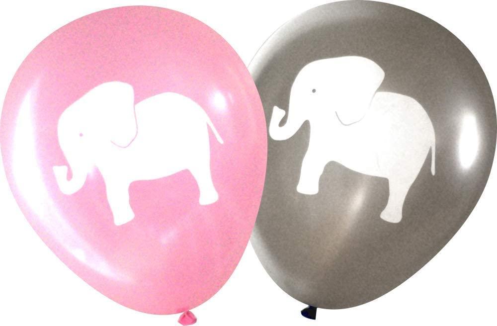 Nerdy Words Elephant Balloons (16 pcs) (Grey & Pink)