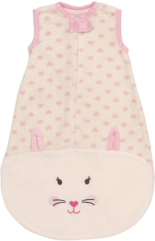 Little Me Appliquéd Fleece Sleeveless Wearable Baby Blanket Sleeping Bag with Zipper (Pink, Kitten, 9M)