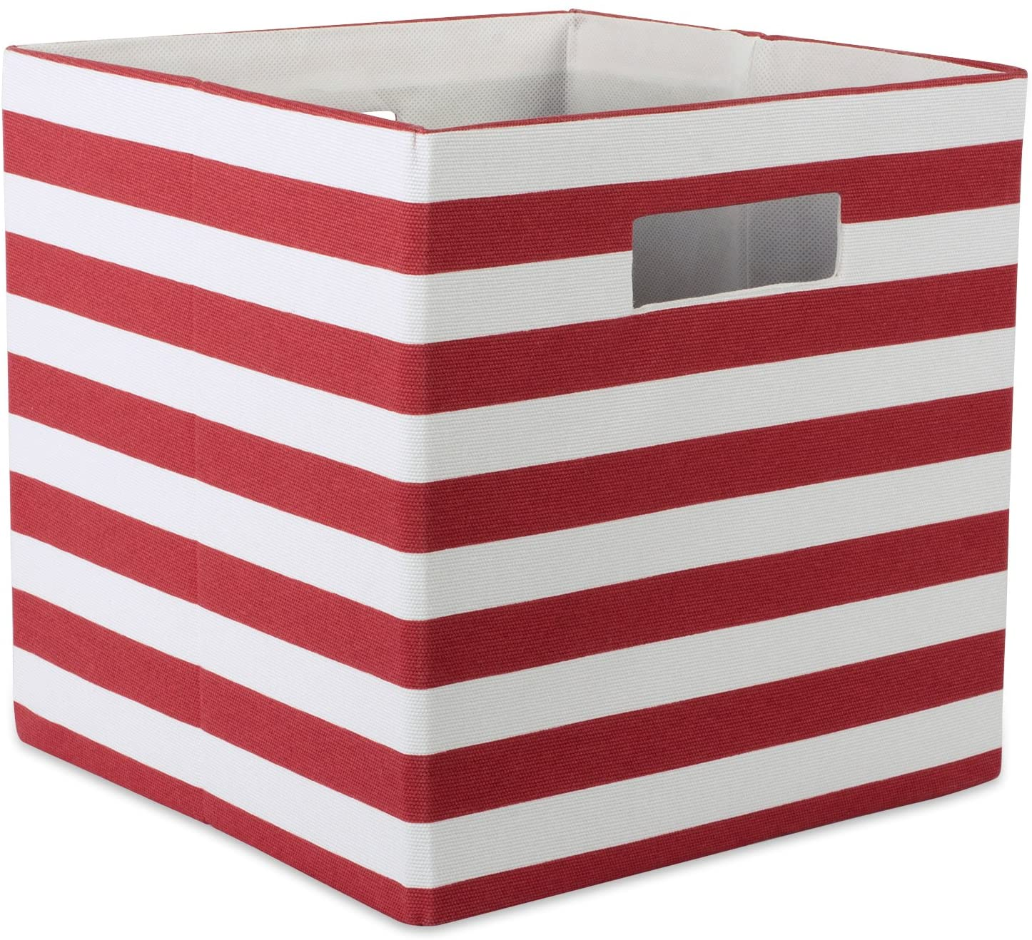 DII Printed Polyester Storage Bin 13 x 13 x 13, Stripe Rust, Large