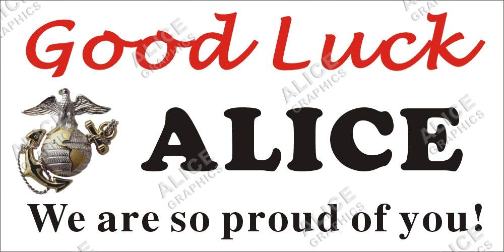 [Vinyl] Alice Graphics 22inX44in Custom Personalized US Marine Corps Good Luck at Boot Camp Banner Sign