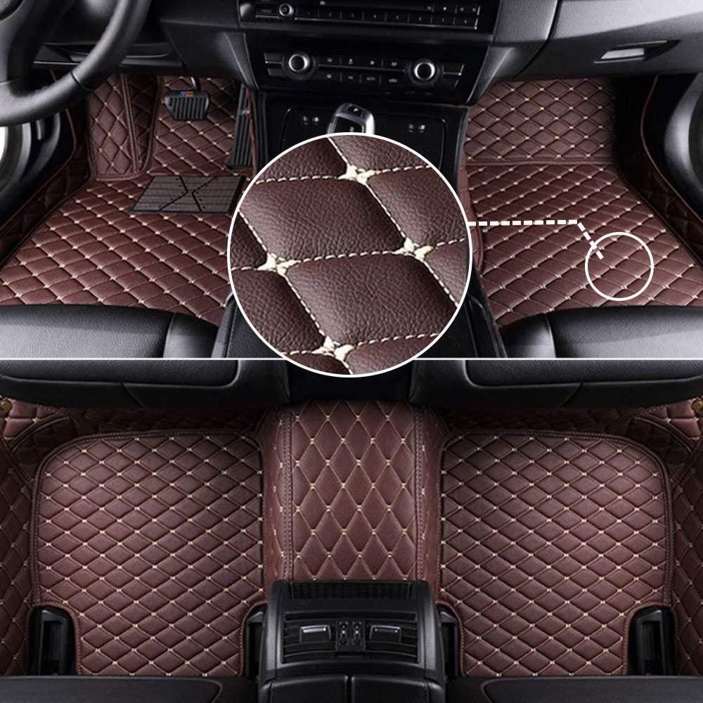 MyGone Car Floor Mats for Volkswagen Passat B7/B8 2011-2018 2012 2013 2014 2015 2016 2017, Leather Floor Liners - Custom Fit Waterproof Comfort Soft, Front Rear Row Full Set Coffee