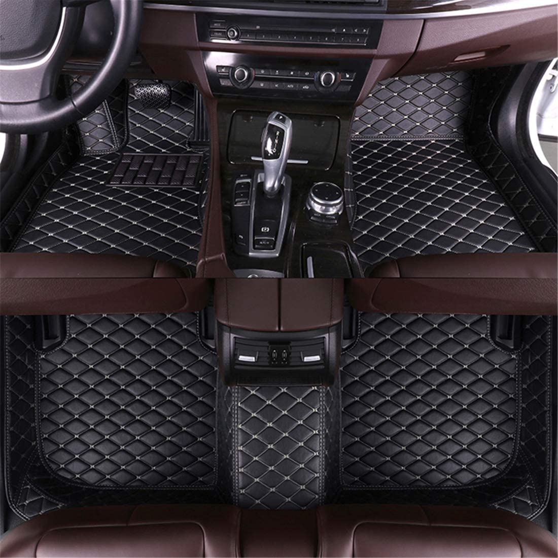 Muchkey for Audi Leather Custom Car Floor Mats All-Weather Protection Floor Liners Waterproof Carpets Black Beige