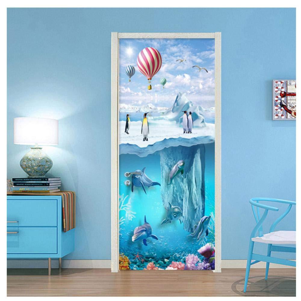 3D Door Wall Mural Wallpaper Stickers Ocean Vinyl Removable Decals for Home Room Decoration 30.3x78.7