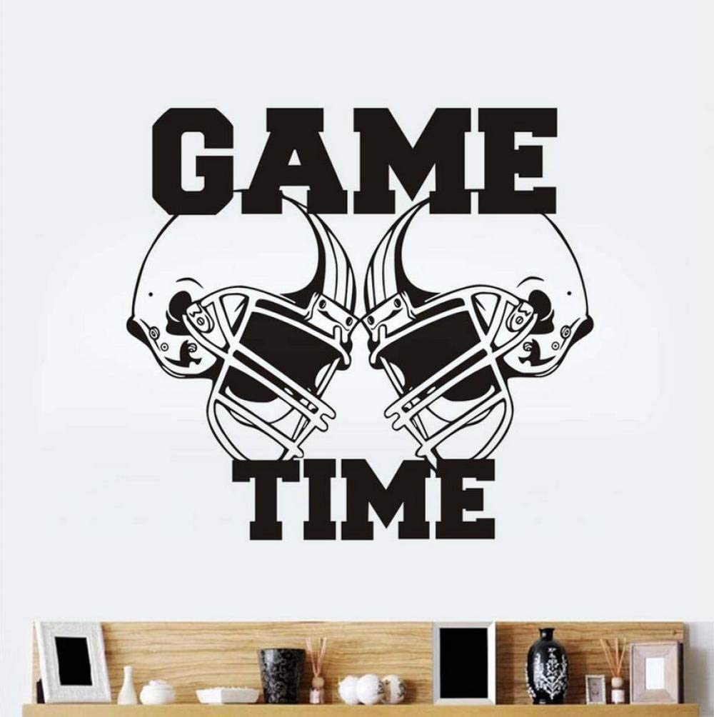 Wall Decal Vinyl Sticker Gym Sport Rugby American Football Game Time Decor Kids Room Wall Stickers 62X57Cm