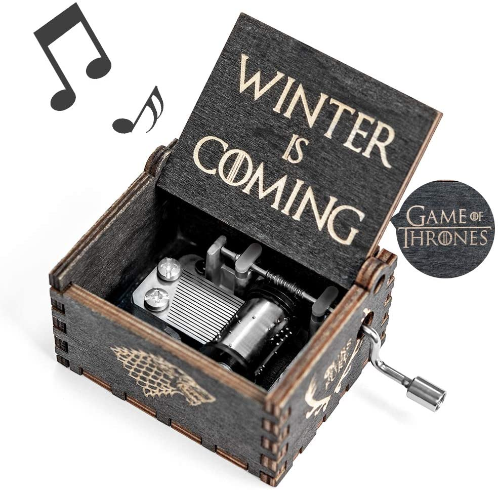 Game-Thrones Music Box, Wood Merchandise Vintage Classic Hand Crank Musical Box Birthday Gift for Boyfriend Kids Man Game of Thrones Toy Present Bedroom Decor Collectible