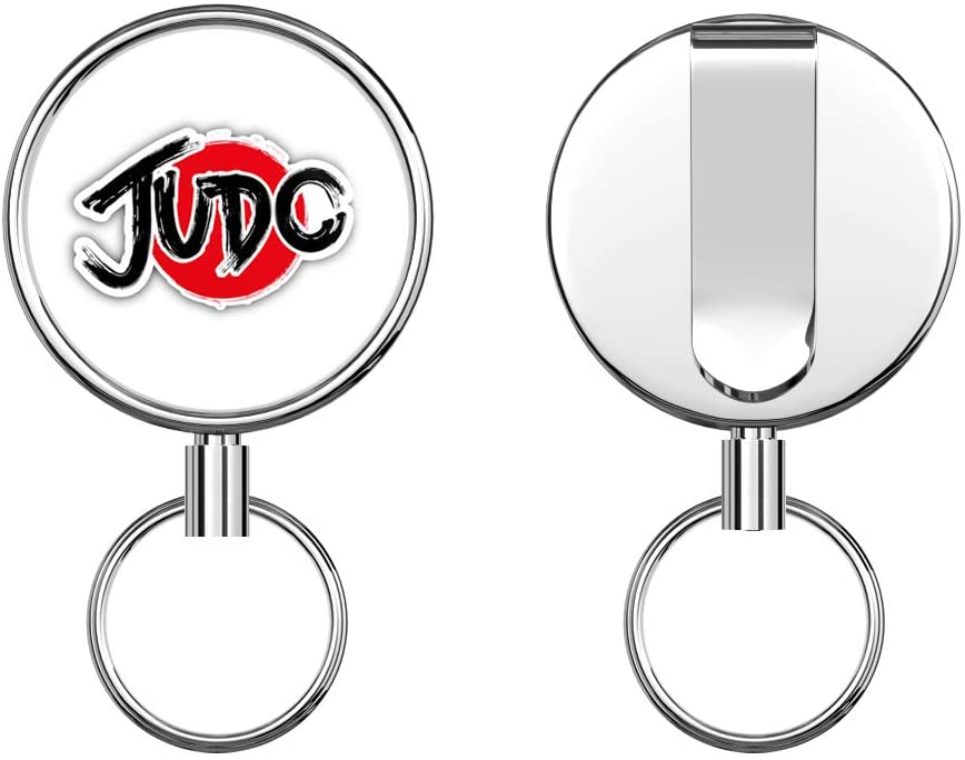 Judo Logo Retractable Badge Holder Reel Metal ID Badge Holder with Belt Clip Key Ring for Name Card Keychain