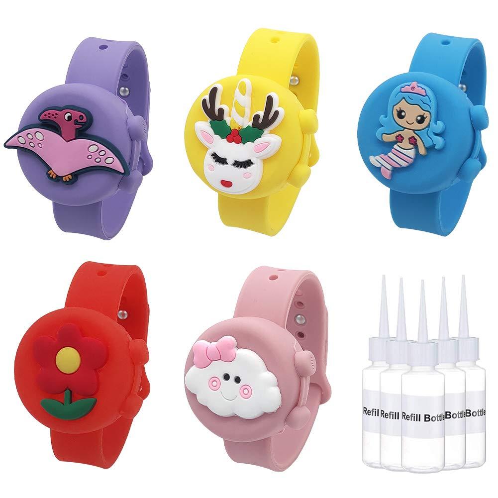 5 Pack Hand Sanitizer Wristband(0.5 oz), Cartoon Wearable Sanitizer Bracelet for Adult and Kids, Leakproof Refillable Reusable Hand Bracelet Dispenser with Squeeze Bottle