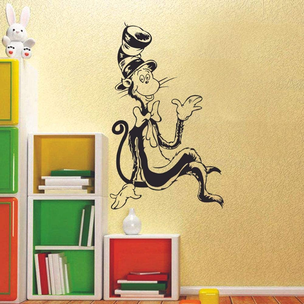 The Cat in The Hat Dr. Seuss Book Character Wall Sticker Art Decal for Girls Boys Kids Room Bedroom Nursery Kindergarten House Fun Home Decor Stickers Wall Art Vinyl Decoration Size (30x27 inch)