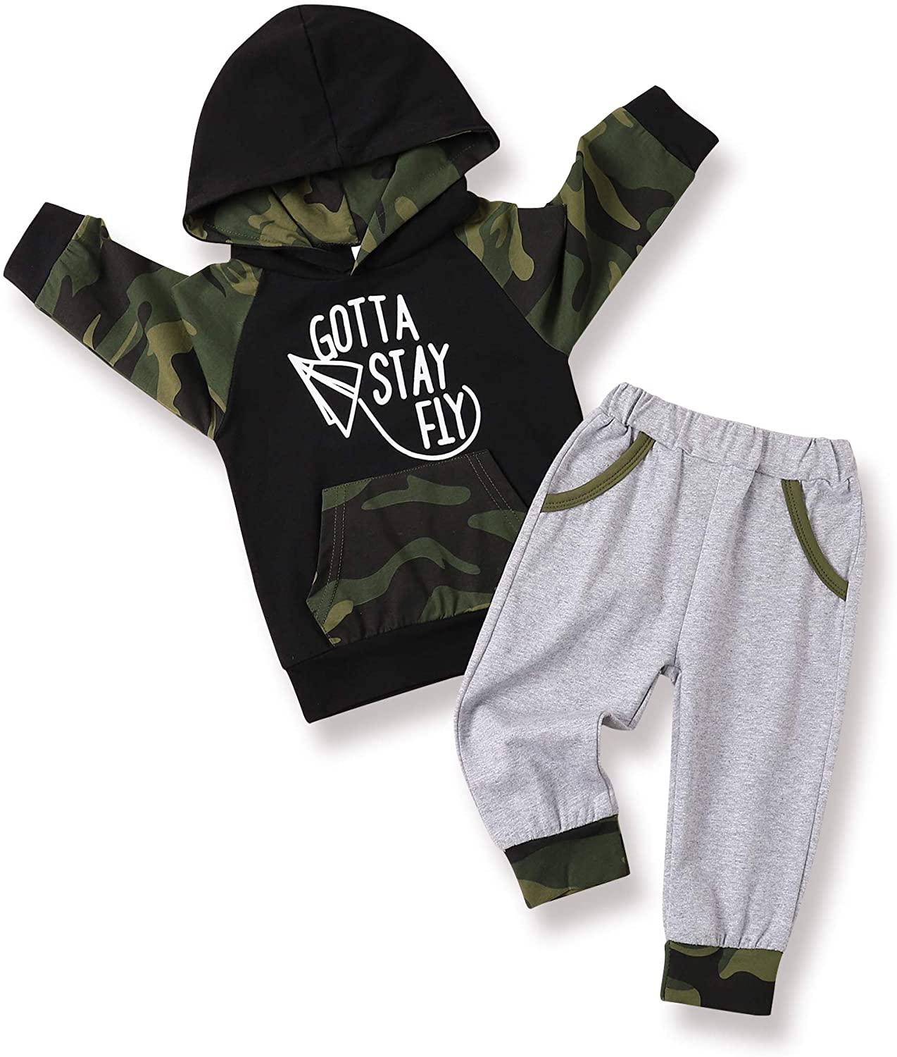 Toddler Baby Boy Clothes Infant Camouflage Outfits Set Long Sleeve Hoodie Sweatsuit Top + Sweatpants Long Pants