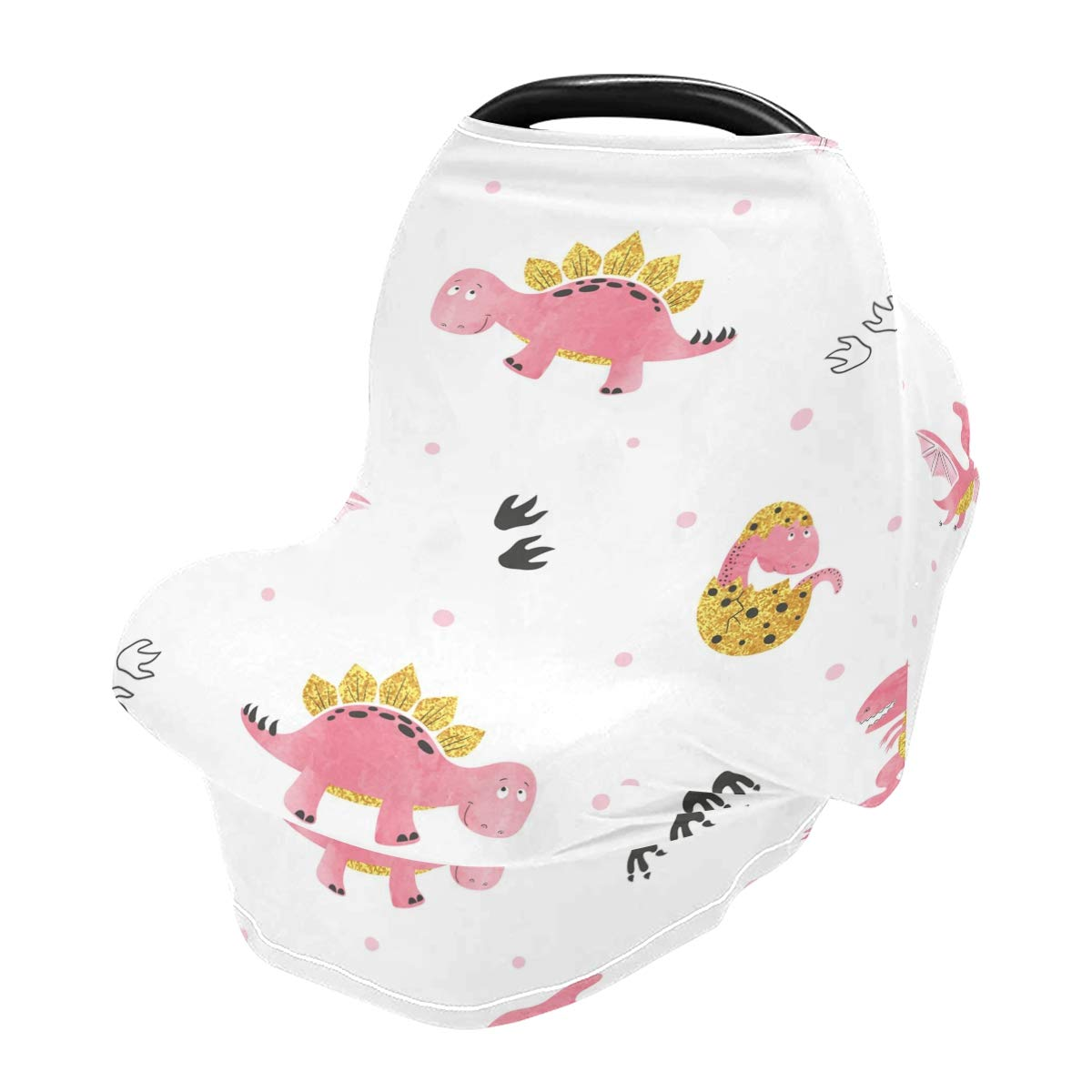 Cute Cartoon Dinosaurs Car Seat Covers for Babies Infant, Nursing Cover Breastfeeding Scarf, Stroller Cover, Carseat Canopy for Boys Girls