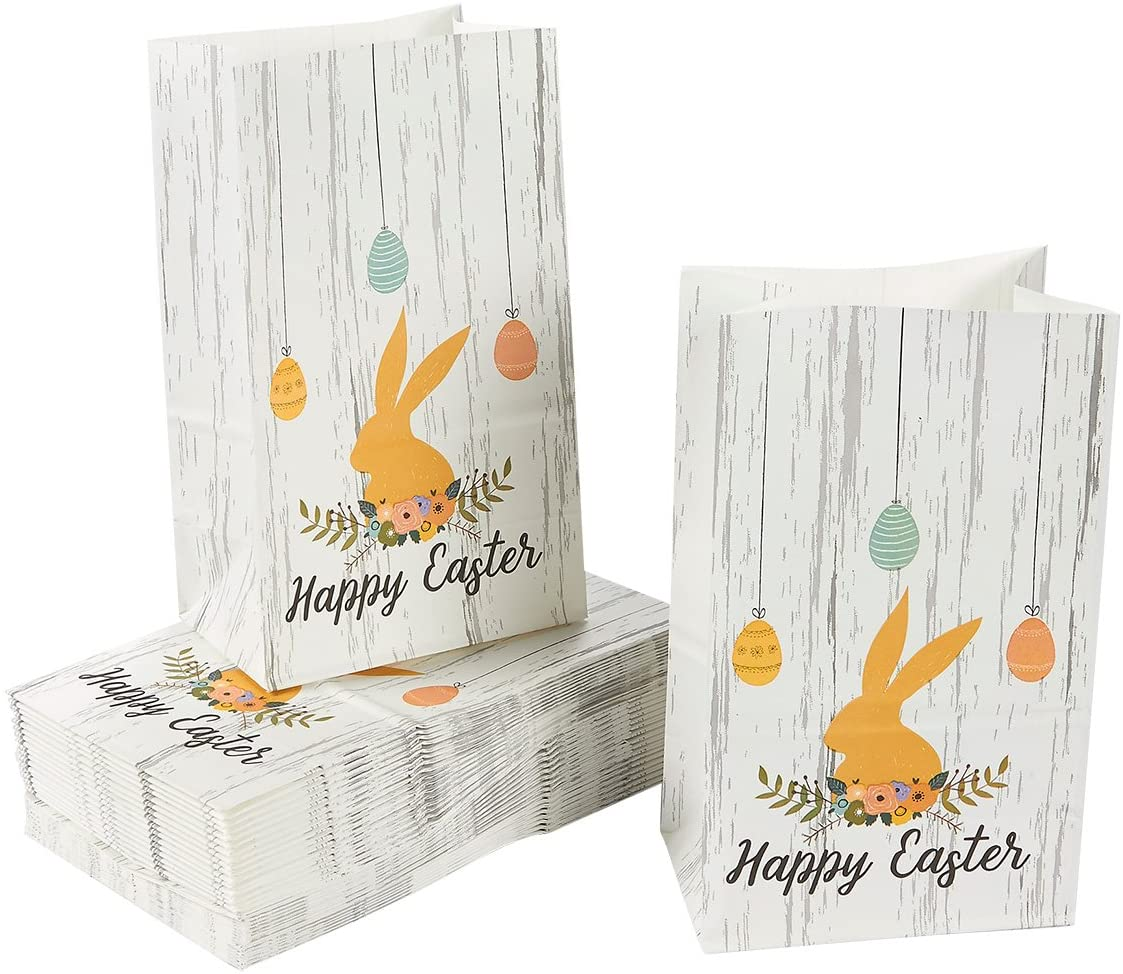 Easter Party Favor Bags, Gift Bags with Happy Easter and Bunny Design (36-Pack)