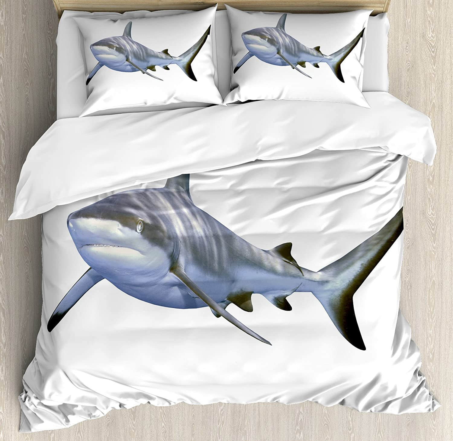 Ambesonne Shark Duvet Cover Set, Large Reef Shark Swimming Futuristic Computerrt Underwater Design, Decorative 3 Piece Bedding Set with 2 Pillow Shams, Queen Size, White Grey