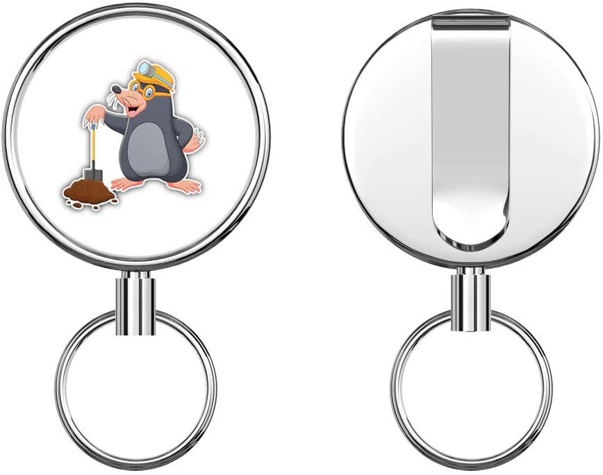 Cartoon Mole Retractable Badge Holder Reel Metal ID Badge Holder with Belt Clip Key Ring for Name Card Keychain