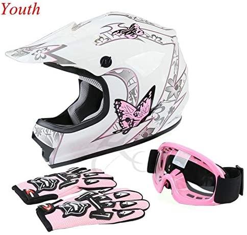 TCT-MT Youth Kids Helmet DOT w/Goggles +Gloves Pink Butterfly ATV Dirt Bike Motocross Helmet Gloves Goggles S~XL (Small)