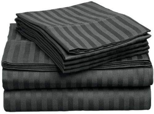 600 TC 4 Piece Set Bed Sheets - Extra Soft - 18 Inch Deep Pockets - Easy Fit - Breathable & Cooling - Wrinkle Free - Full/Pack of 4 Dark GreyStripe