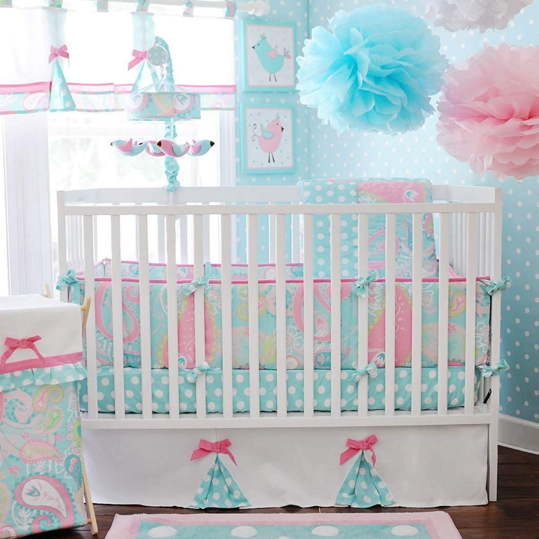 3 Piece Blue Pink Yellow Paisley Baby Crib Bedding Set, Newborn Nursery Bed Set Infant Child Soft Cotton Candy Adorable Solid Cozy Polka Dot Pattern Blanket Comforter, Cotton