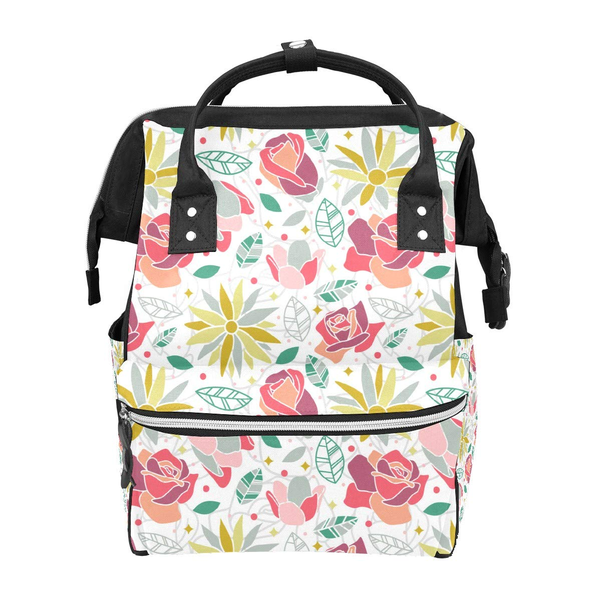 Diaper Bag Backpack Flower Blossom Rose Daisy Seamless Pattern Background Multifunction Travel Back Pack Baby Changing Bags Large Capacity Waterproof Stylish