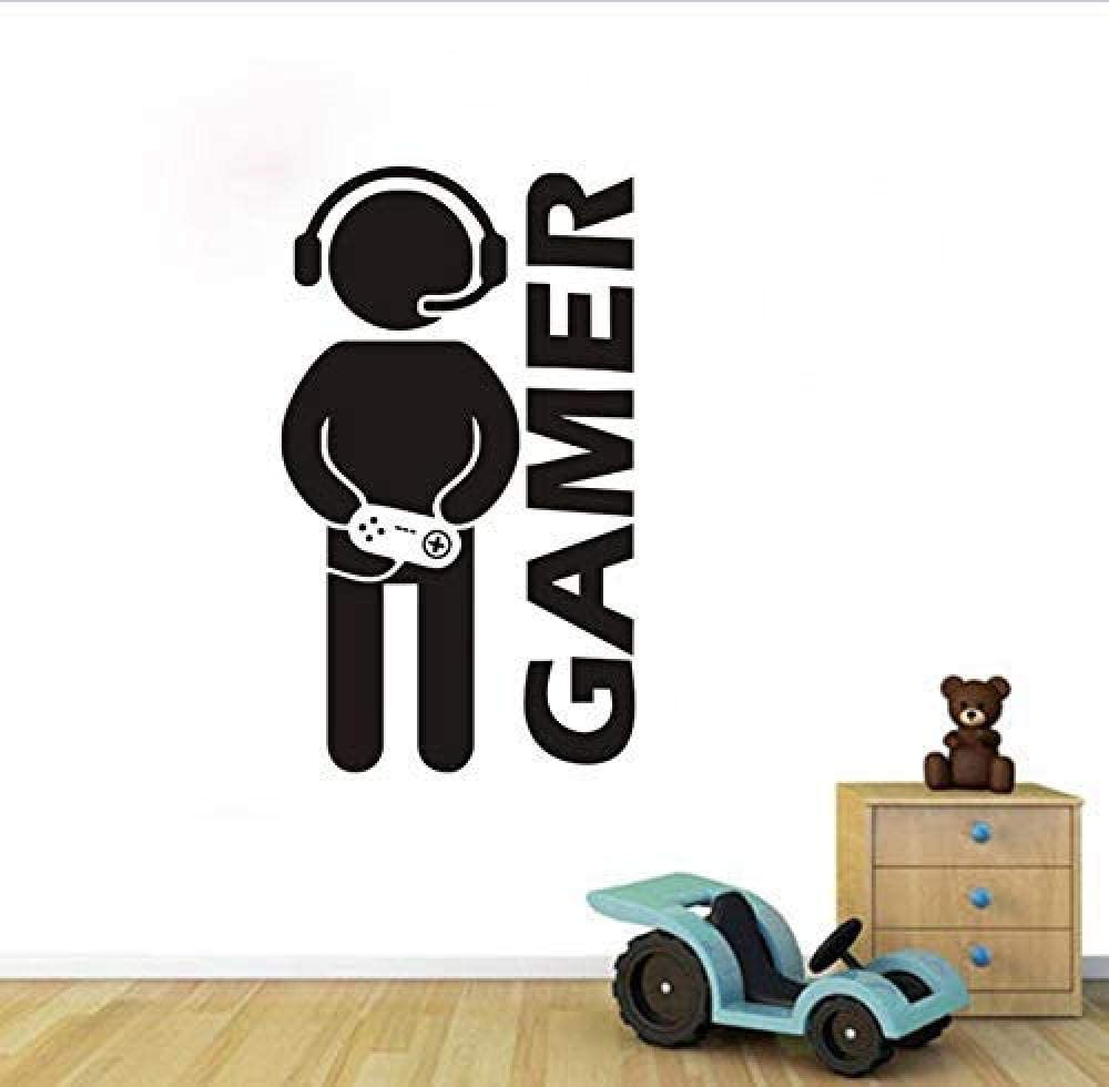 xcdfr Wall Stickers Wall Sticker Gamer Quote People Silhouette Sticker Black PVC Removable Vinyl Game Room Kids Bedroom Game Room Decor