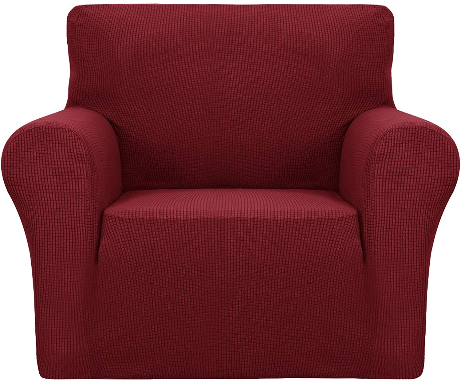 YUUHUM Chair Cover Stretch Jacquard Chair Slipcover with Arms Universal Fitted Sofa Armchair Covers for Living Room Non Slip Spandex Couch Protector with Elastic Bottom (Chair, Wine Red)