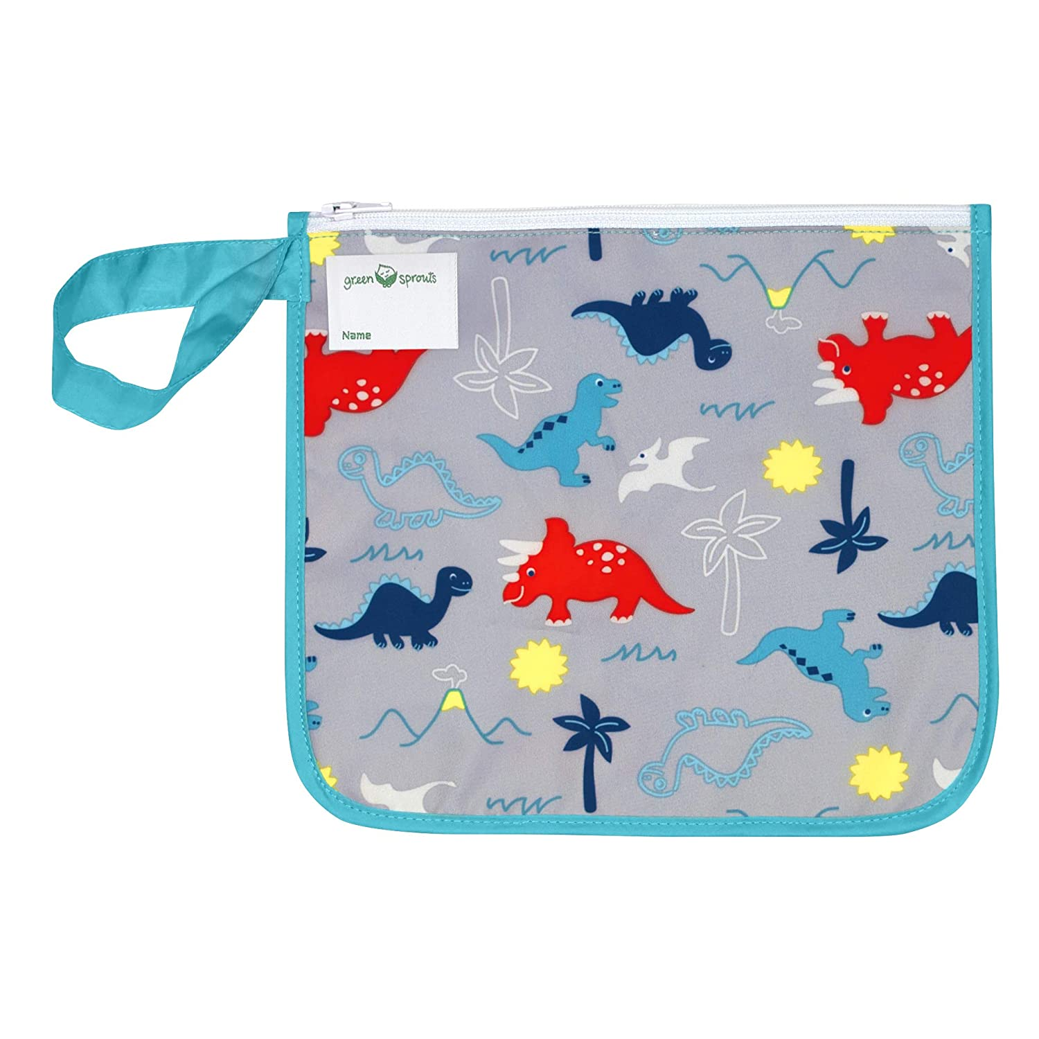 green sprouts Insulated Reusable Snack Bag   Keeps Food Fresh   Insulated Layer, Food-Safe, Waterproof & Easy-Clean Material, Aqua Dinosaurs
