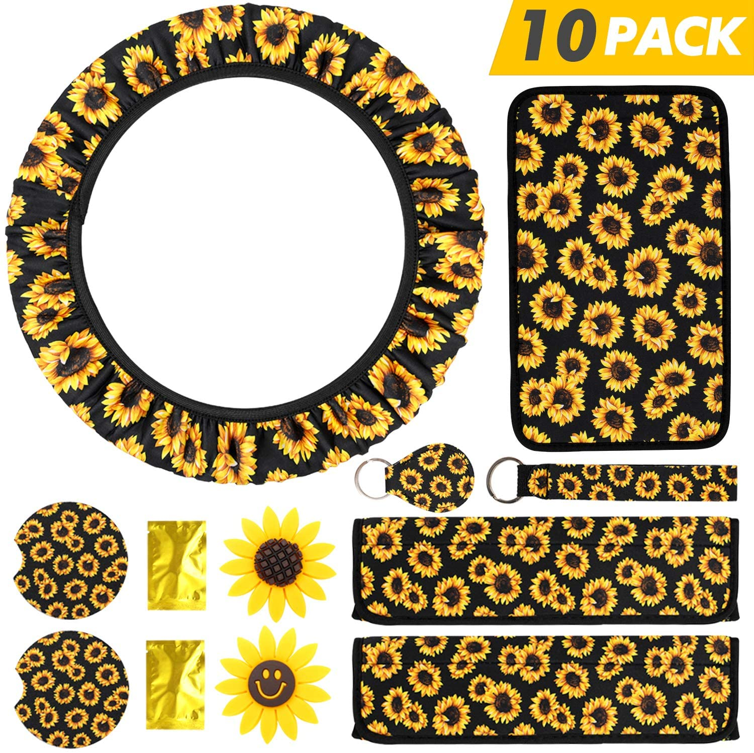 SEVENS SunflowerCarAccessories for Women with Universal Console Cover, Adjustable SteeringWheelCover, Sunflowers Key Ring, Seat Belt Shoulder Pads, Car Vent Decorations& Cup Coaster, 10 Pieces