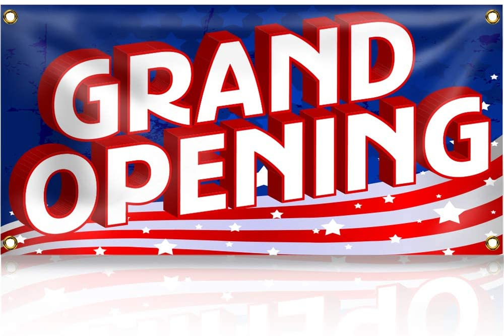 Grand Opening Banner Sign - US Flag Colors (2FT x 4FT)