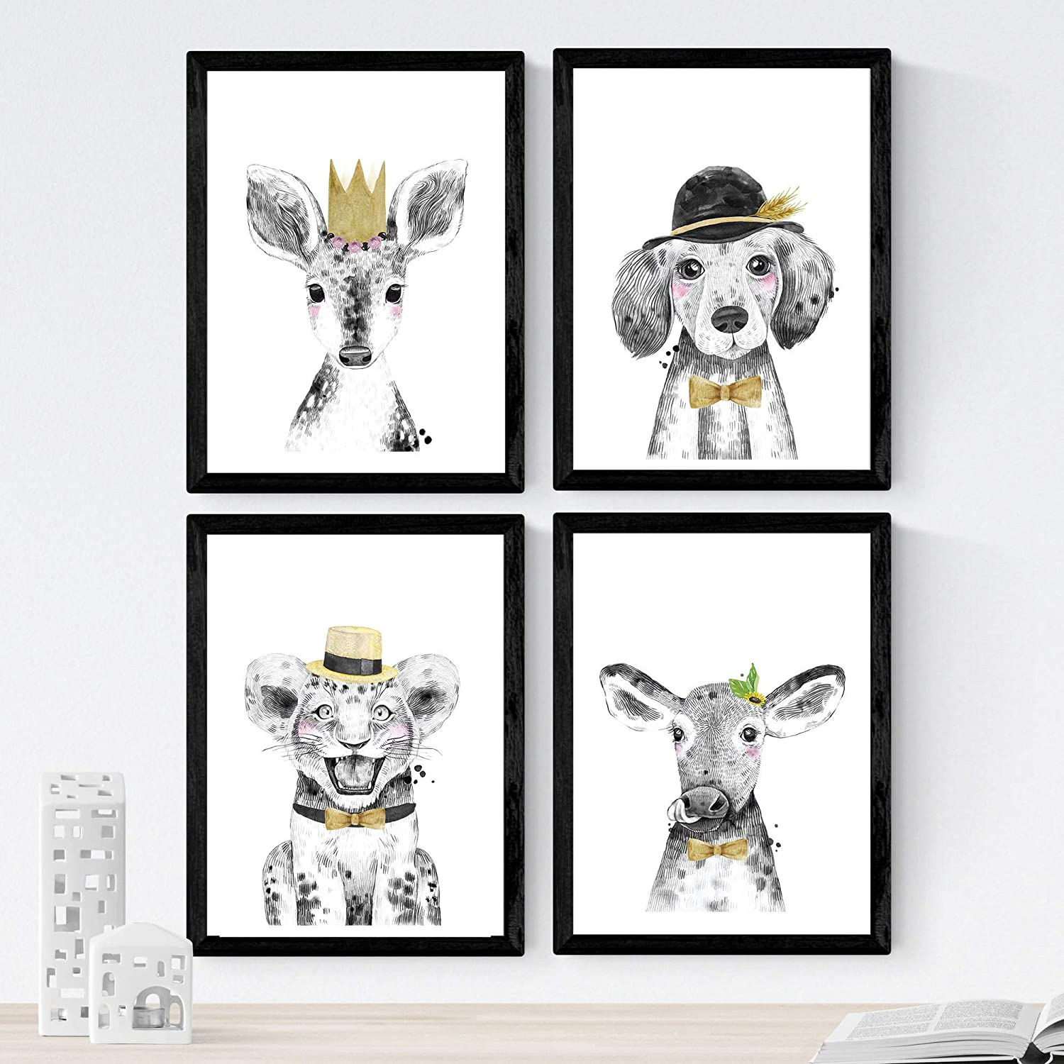 Nacnic Set of 4 Sheets of Animals Children Tones Yellows in 8'x11' Size, Poster Paper 250 gr. Frameless