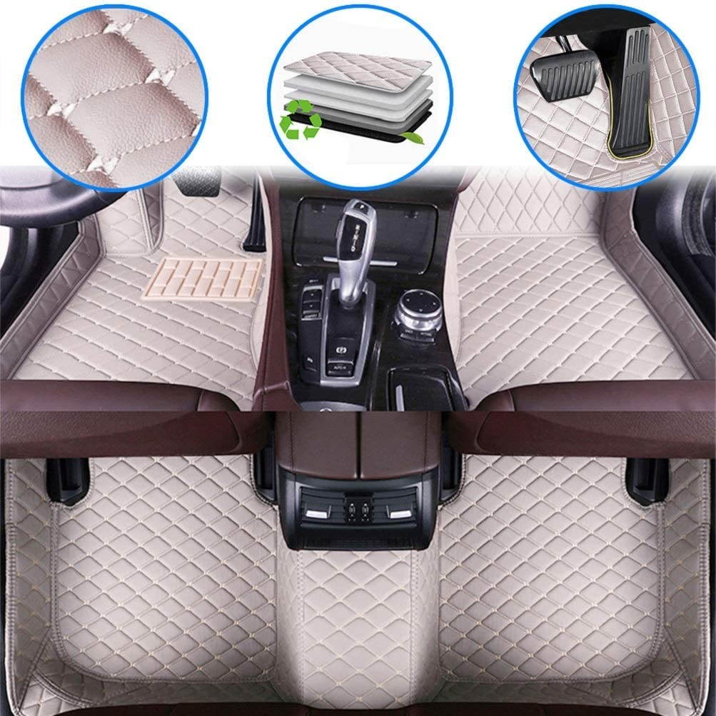 Maiqiken Car Custom Floor Mats for Acura MDX 7Seats 2007-2013 Luxury Leather Waterproof Anti-Slip Full Coverage Liners Complete Set Gray