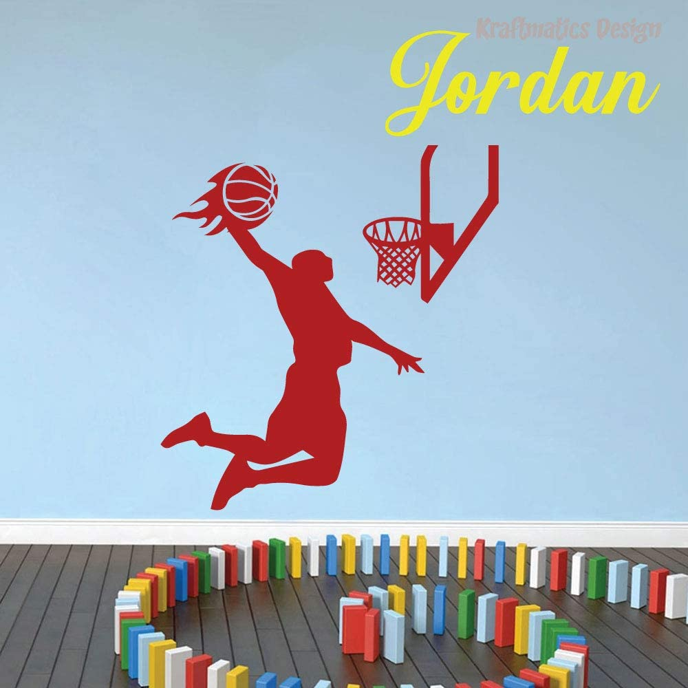 Basketball Flames Custom Name Sports Series Nursery Wall Decal Vinyl Sticker for Home Decor. (Large W 40