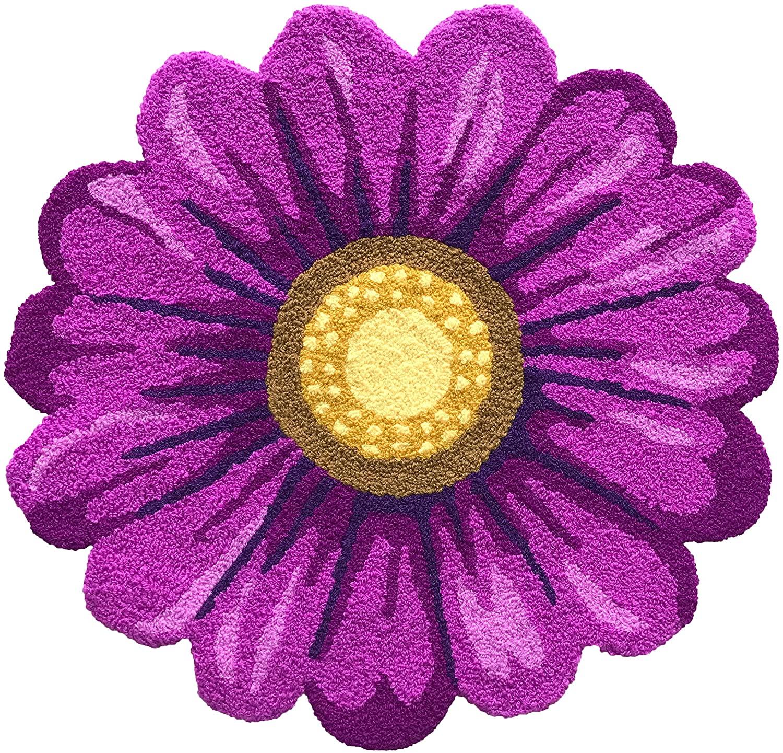 Handmade Weaving Purple Sunflower Mat - Area Rug Mat for Living Room Bedroom Bathroom 2'x2', Washable Non-Slip Indoor Welcome Rug