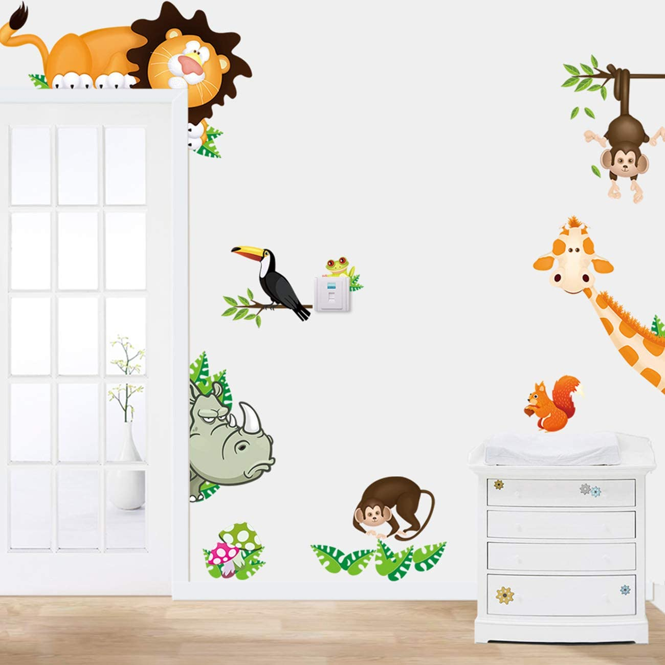 NITCAN Jungle Cartoon Animals Forest Wall Decals for Baby Kids Rooms Home Door Window Decor Cartoon Lion Elephant Giraffee Wall Mural Peel and Stick for Bedroom (#2 Animals Group)