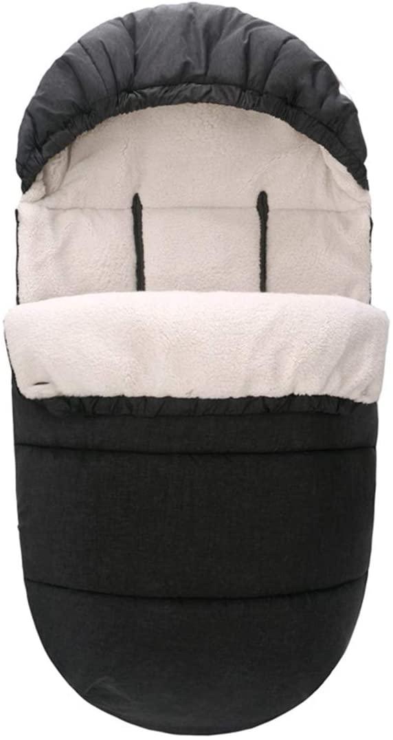 Nuolate2019 Baby Sleeping Bag Stroller Bunting Sack Winter Sleep Nest Wrap Swaddle Blanket Windproof Warm Toddler Newborn Footmuff for Car Seat Outdoor Indoor Black