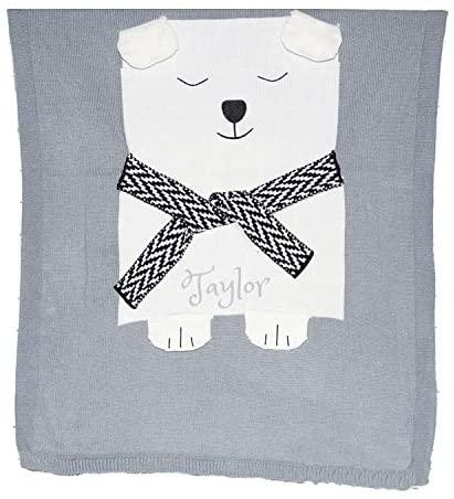 Personalized 3D Baby Blanket Cotton Knit Blanket Grey Bear Custom Monogram Embroidered Gift Baby Shower Infant Warm Blankie Blanket Swaddle (Grey Bear)