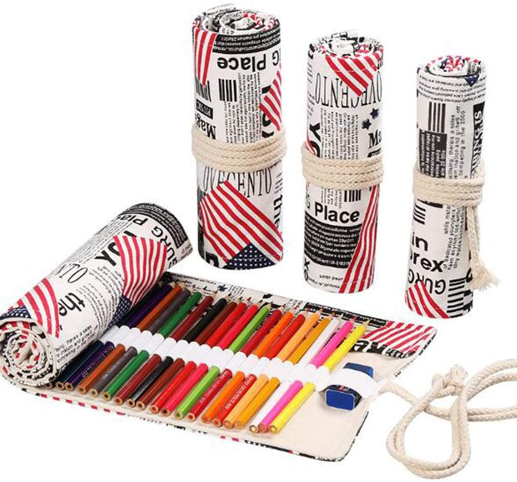 Flyusa Canvas Pencil Wrap,Colored Pencil Roll Up Wrap Travel Drawing Coloring Pencil Holder Organizers with 48 Slots for Student Artist Adult(USA Flag)