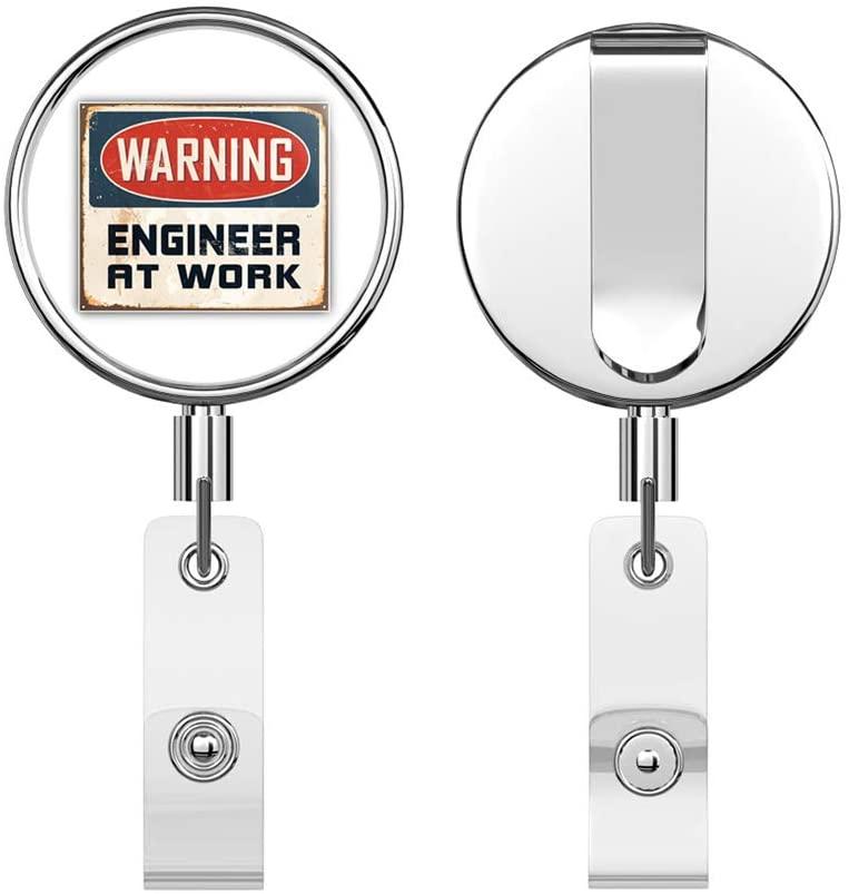 Warning Engineer at Work Vintage Metal Sign Round ID Badge Key Card Tag Holder Badge Retractable Reel Badge Holder with Belt Clip