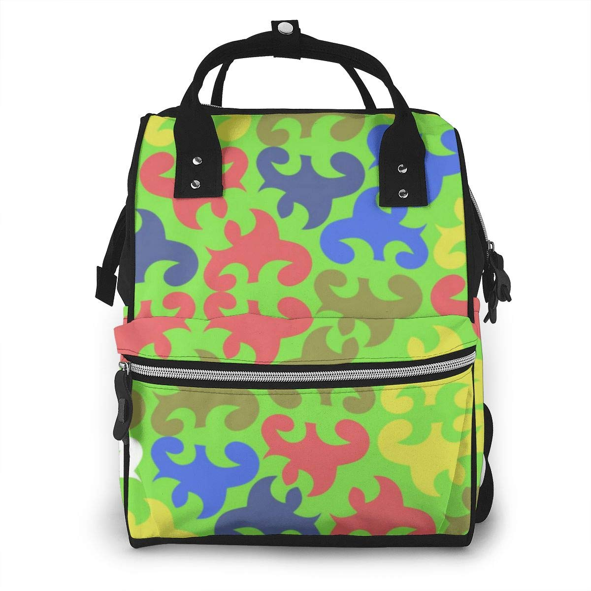 Bright Asian Background Abstract Floral Diaper Bag Mom Dad Travel Backpack Multifunction Waterproof Canvas Large Capacity Baby Bag Maternity Nappy Bags for Baby Care