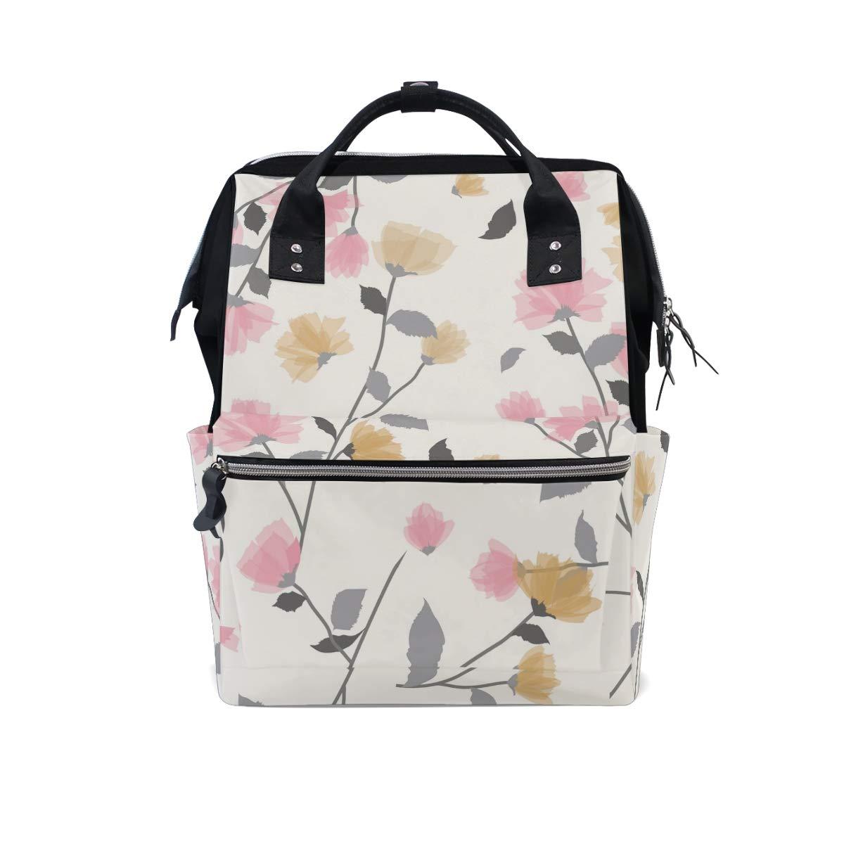 MERRYSUGAR Diaper Bag Backpack Cute Floral Flower Pink Multifunction Travel Bag