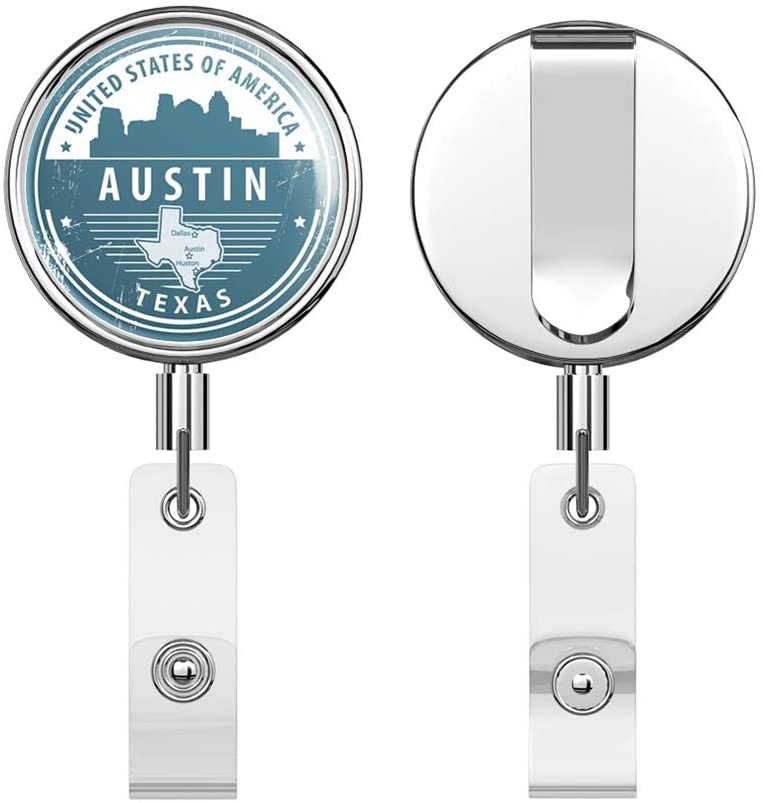 Austin Texas USA Grunge Rubber Stamp Travel Round ID Badge Key Card Tag Holder Badge Retractable Reel Badge Holder with Belt Clip