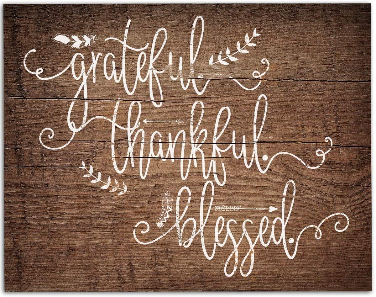 Grateful Thankful Blessed - 11x14 Unframed Art Print - Great Home/Living Room Decor