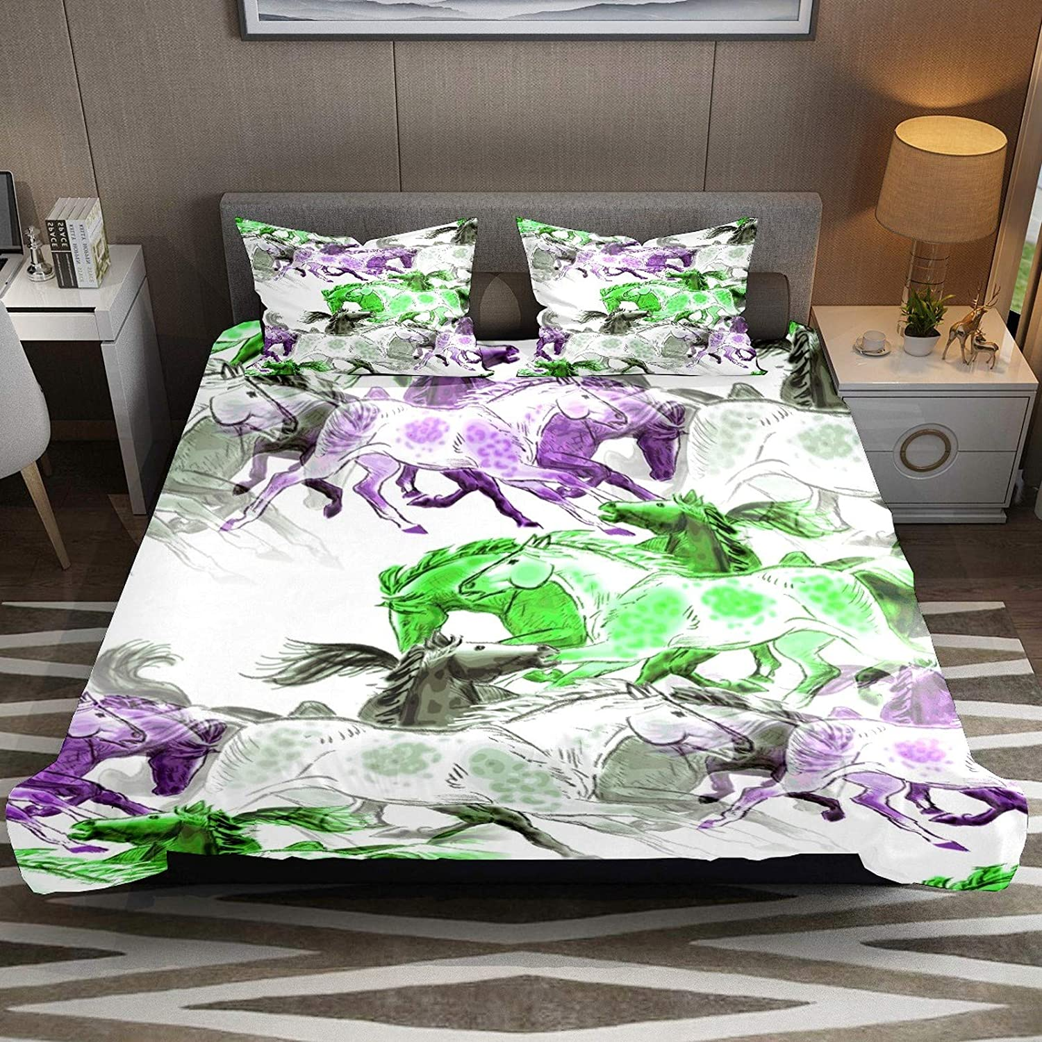 Horse Green Purple Grey Comforter Cover Set CK Size 3pcs Duvet Cover Bedding Sets & Collections with Zipper Ties for Woman Teens Kids Modern Customize (1 Quilt Cover +2 Pillowcases)