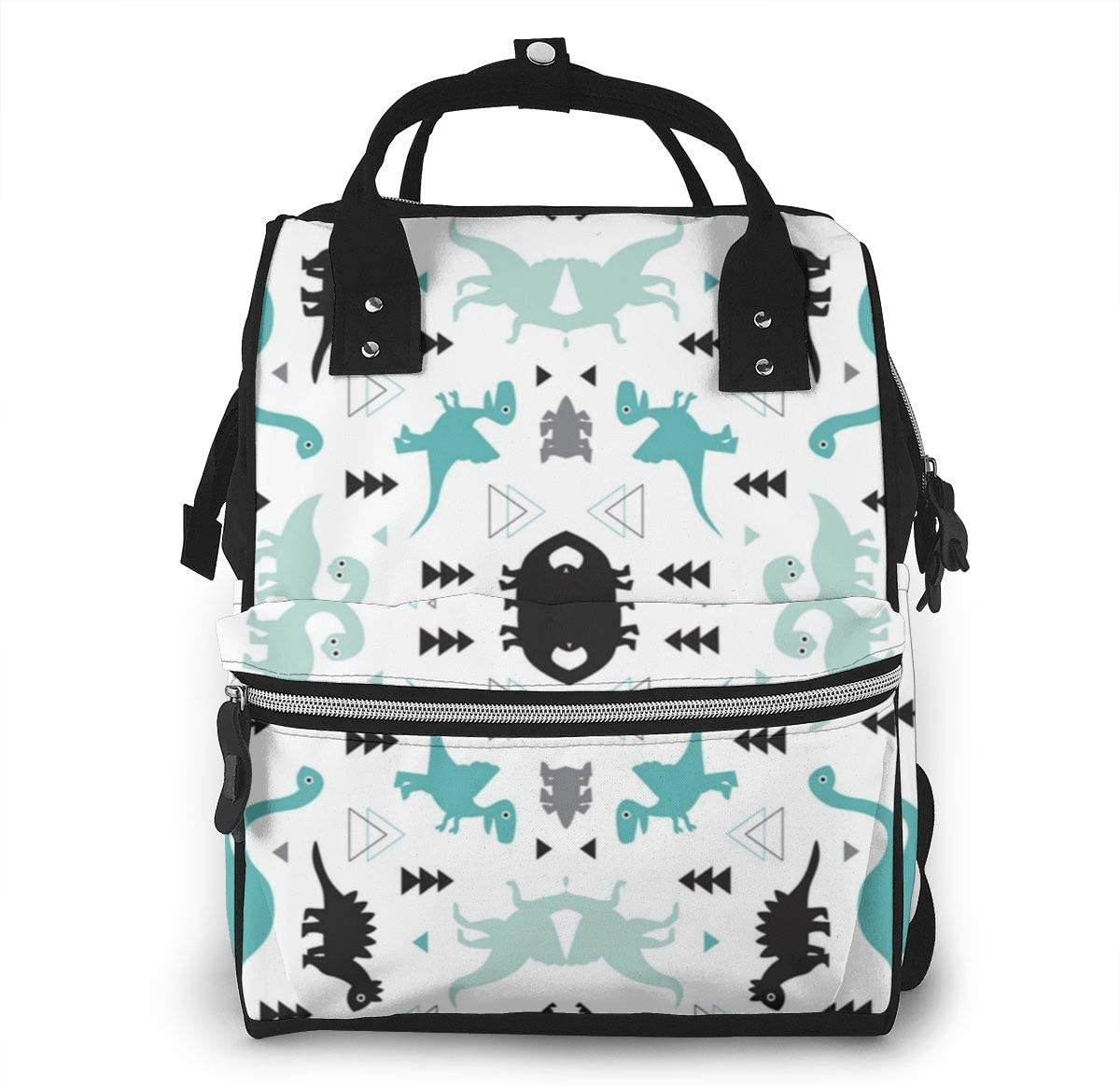 NiYoung Diaper Bag Backpack-Waterproof Large Capacity &Multiple Pockets for Organization. Ideal for Travel Nappy Bags (Funny Dinosaur Set White)