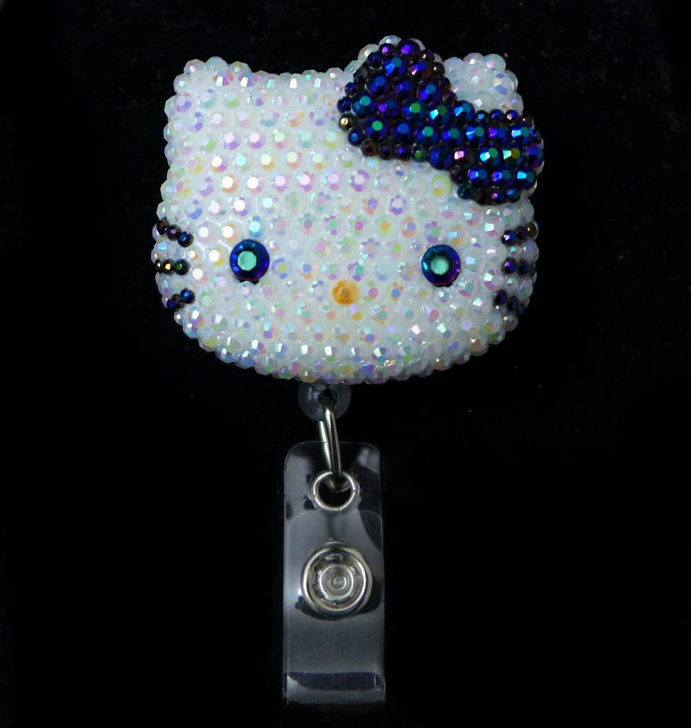 LOVEKITTY 3D Hello Cutie Blinged Out Kitty Inspired Rhinestone Retractable Badge Reel/Name Badges/ID Badge Holder (AB Jelly Black Bow)