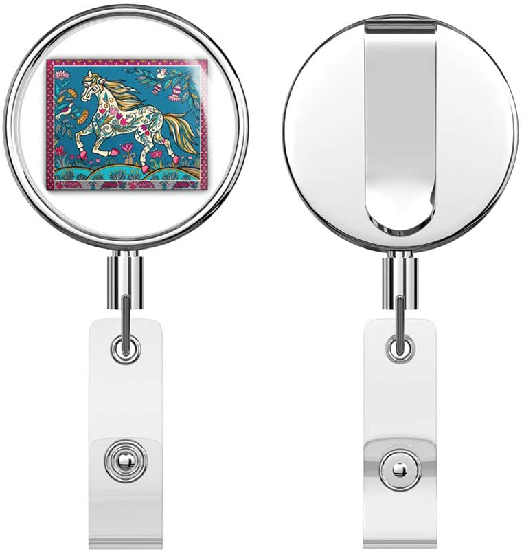 Patterned Horse World Retractable Reel Chrome Metal Badge ID Card Holder Clip
