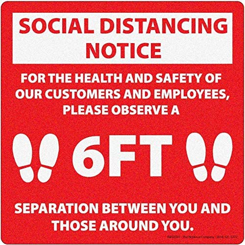 Social Distancing 12 x 12 Premium Non-Slip Indoor Ground Sticker - 6 Pack - Social Distancing Sign with Non-Slip Coating for Indoor Tile and Hard Surface Floors